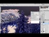 Снежный мэт пейтинг по рисованию горного пейзажа в Photoshop. Урок 7